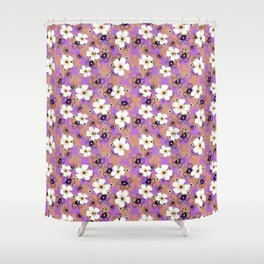 White and coral flowers Shower Curtain