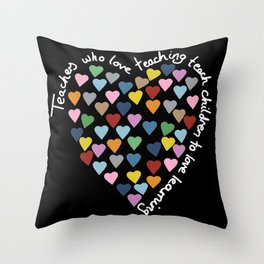 Hearts Heart Teacher Black Throw Pillow