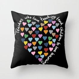 Hearts Heart Teacher Black Throw Pillow