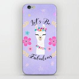 Let's Be Fabulous - Purple Cute Alpaca - Llama with Flowers iPhone Skin