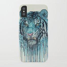 Blue Tiger Drip iPhone Case