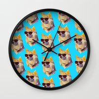 doge Wall Clocks featuring Polygonal Doge  by Michael Fortman