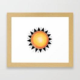 Sun Watercolor Ink Framed Art Print