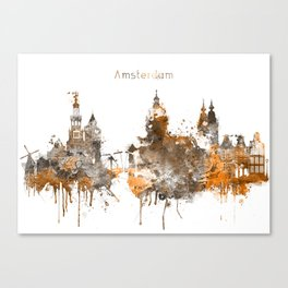 Amsterdam Warm Color Skyline Canvas Print