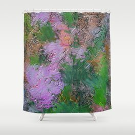 Embossed Impressionist pink flowers Shower Curtain