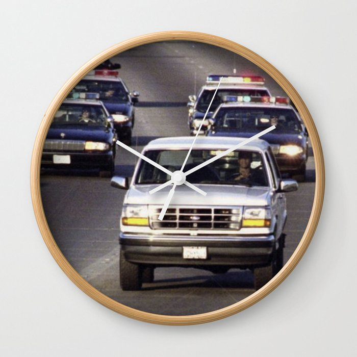 Oj Simpson Car Chase Wall Clock By Celeblegs Society6