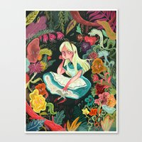 alice in wonderland Canvas Prints featuring Alice in Wonderland by Karl James Mountford