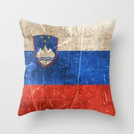 Vintage Aged and Scratched Slovenian Flag Throw Pillow