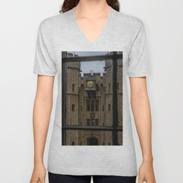 Clock on the Waterloo Block at Tower of London Home of the Crown Jewels Unisex V-Neck