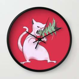 Funny Fat White Cat Eats Christmas Tree Wall Clock