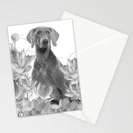 Weimaraner Dog Lotos Flowers - Black & White #society6 #lotos Stationery Cards