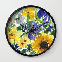 daffodil, iris and sunflower Wall Clock