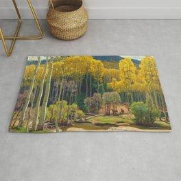 Aspen Trees & Deer, Rocky Mountains Colorado landscape by E. Hennings Rug