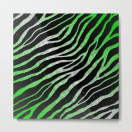 Ripped SpaceTime Stripes - Green/White Metal Print