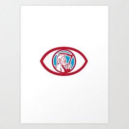 Cronus Holding Scythe Eye Retro Art Print