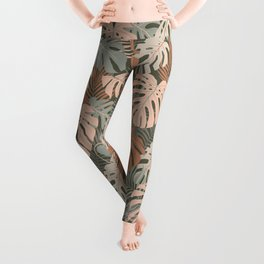 Monstera and Palm leaves pattern  Leggings