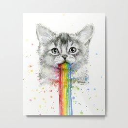 Kitten Puking Rainbows Cat Rainbow Vomit Metal Print