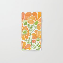 Happy California Poppies / hand drawn flowers Hand & Bath Towel