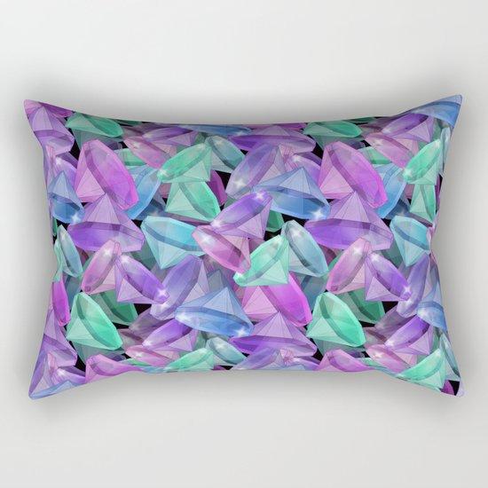 Placer precious stones Black background . Diamonds . Rectangular Pillow