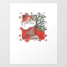 Santa Claus Delivering Christmas Pudding Kerstpudding Vector Art Print