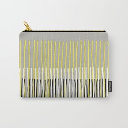 Yellow Rising - abstract stripes in yellow, grey, black & white Carry-All Pouch