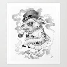 Pig & Pipe Art Print