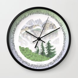 SUMMER IN THE NORTH CASCADE MOUNTAINS PEN DRAWING Wall Clock