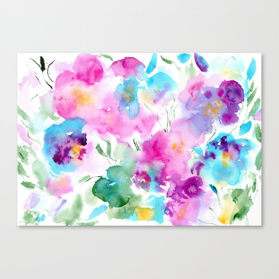 Floral abstraction #4    watercolor Canvas Print