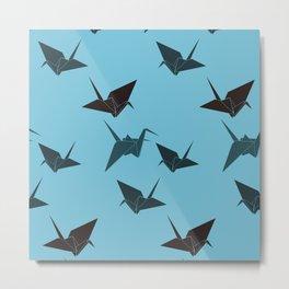 Blue origami cranes Metal Print