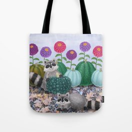 raccoons, heirloom pumpkins, & zinnias Tote Bag