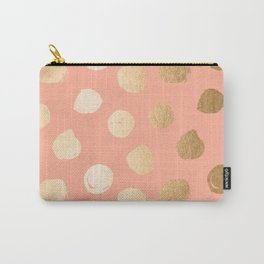 Sweet Life Polka Dots Peach Coral + Orange Sherbet Shimmer Carry-All Pouch
