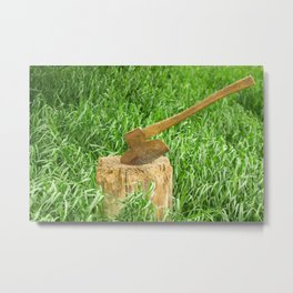 Antique Broad Ax in a Stump of Wood Metal Print