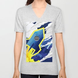 flyng rocket in space Unisex V-Neck