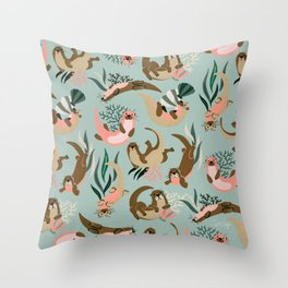 Otter Collection - Mint Palette Throw Pillow