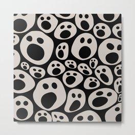 Halloween Smiley faces pattern White Metal Print