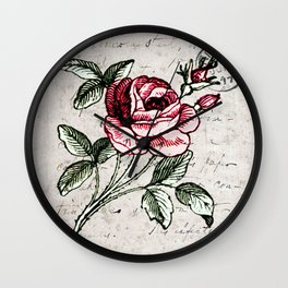 Shabby chic vintage rose and calligraphy Wall Clock
