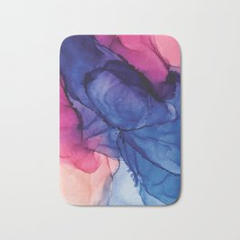 Pondering- Blue and Blush- Alcohol Ink Painting Bath Mat