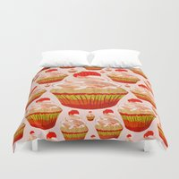 cupcakes Duvet Covers featuring Cupcakes by Alexandra Baker