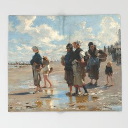 Setting Out to Fish Oil Painting by John Singer Sargent Throw Blanket