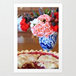 Raspberry Rhubarb Pie & Geraniums Art Print