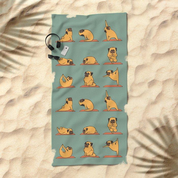 Pug Yoga Beach Towel