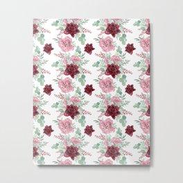 Succulents Pastel Red Pink Mint Green Pattern 2 Metal Print