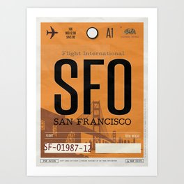 Vintage San Francisco Luggage Tag Poster Art Print