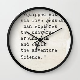 Edwin Hubble quote Wall Clock