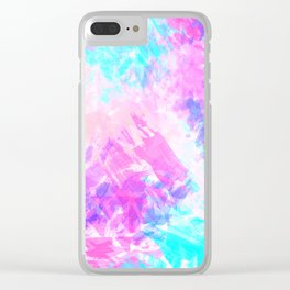 Girly Artsy Purple Pink Abstract Paint Pattern Clear iPhone Case