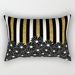 Black Daisies with Gold Glitter Stripes Rectangular Pillow