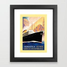 Venice Greece Istanbul shipping line retro vintage ad Framed Art Print