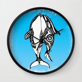 Two Orca Whales Tribal Blue Art Wall Clock