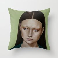 dahlia Throw Pillows featuring Dahlia by Kalynn Burke