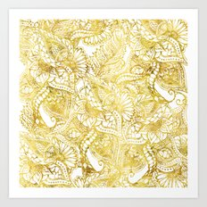Elegant chic gold foil hand drawn floral pattern Art Print